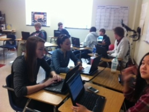 Spanish students use computers to master the language excersises