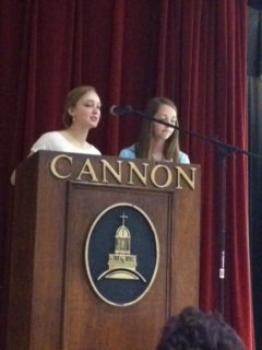Caroline and Carrie lead sophomore rep speeches.