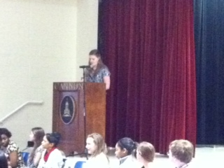 Sara delivers student rep speech.