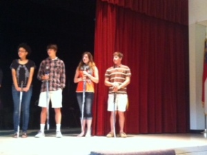 Students receive Honor Swords. Congratulations Mimi, Davis, Jessica and Chris.