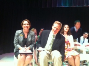 Mrs. Otey and Mr. Gossage are all smiles before the Cum laude ceremony began.