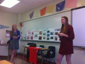 Nicki and Ellen spoke to students about their Stop the Hunger Capstone.