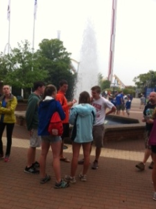 Seniors gather at the fountain at Carowinds.