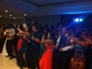Showing dance moves.