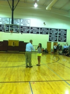 Julia received a core value award Wednesday. Congratulations on earning the most core values of the year.