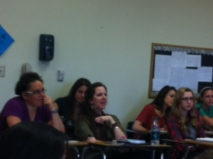 Teachers listened to guest speaker Ms. Aceveda.