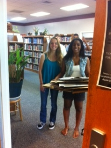 Yearbook staff preparing for distribution.