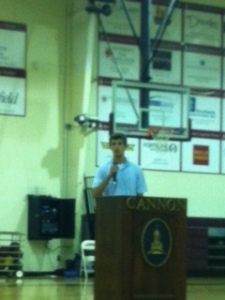 Fabulous farewell speech by President Charlie Powell.Thank you for serving our school.