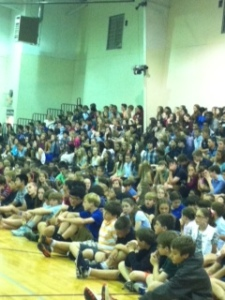 Students awaiting their yearbooks.