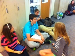 Freshmen enjoy their last days in their hallway.