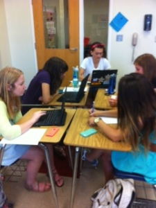 Group work on independent reading project.