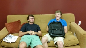 Enjoying the new senior lounge.