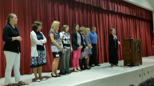 New upper school teachers were introduced and celebrated suring yesterday's community meeting.