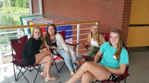 Seniors enjoy the beautiful Atrium in the upper school.