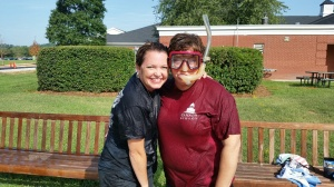 Deb Otey and Joy Pinto took the ALS  ice water bucket challenge Friday. Way to go!