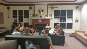 Young Adult literature class met in the Commons for class.