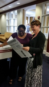 Mrs. Otey and Ms. Harley check out the new CUSP. Congratulations on the first edition.