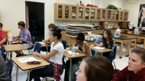 Mrs. Davis' class working on creating words using the Periodic Table. What fun!