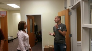 Trojan and Mee discuss sophomore college counseling.