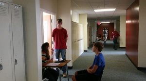 Kulp conducts one on one meetings about  Sophomore interviews.