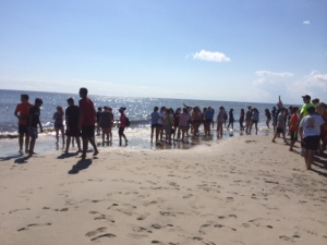 Freshmen enjoy their beach trip.