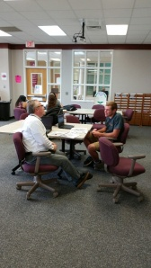 Mr. K enjoys time with Joe as they work on an independent study.