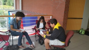 Students prepare lines for their Merchant of Venus video project.