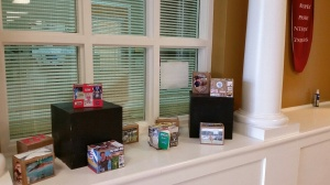 Check out the display of boxes of magic in the front hall.