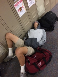 Mr. Leck in his normal morning position in the hall.