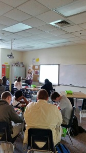 Group work and instruction in math class.