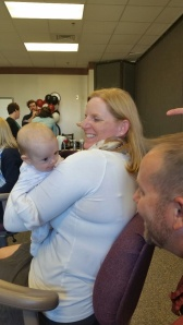 Faculty embrace and enjoy the new Cannon family members.