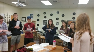 Boys and girls acapella groups start the morning off with a song.