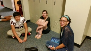 English students gather to prepare for their acting scene for Shakespeare's Merchant of Venice.