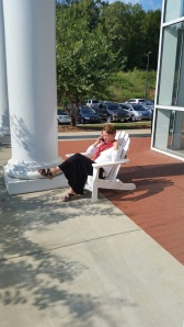 Mrs. Otey takes advantage of the nice weather.