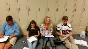 Working and having french fun in the hallway.