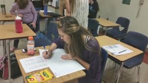 Tiffany devises a Spanish study guide.