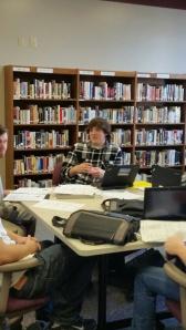 James studies with his pals.