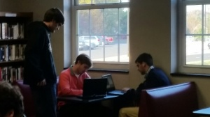 Group time in the library booth.