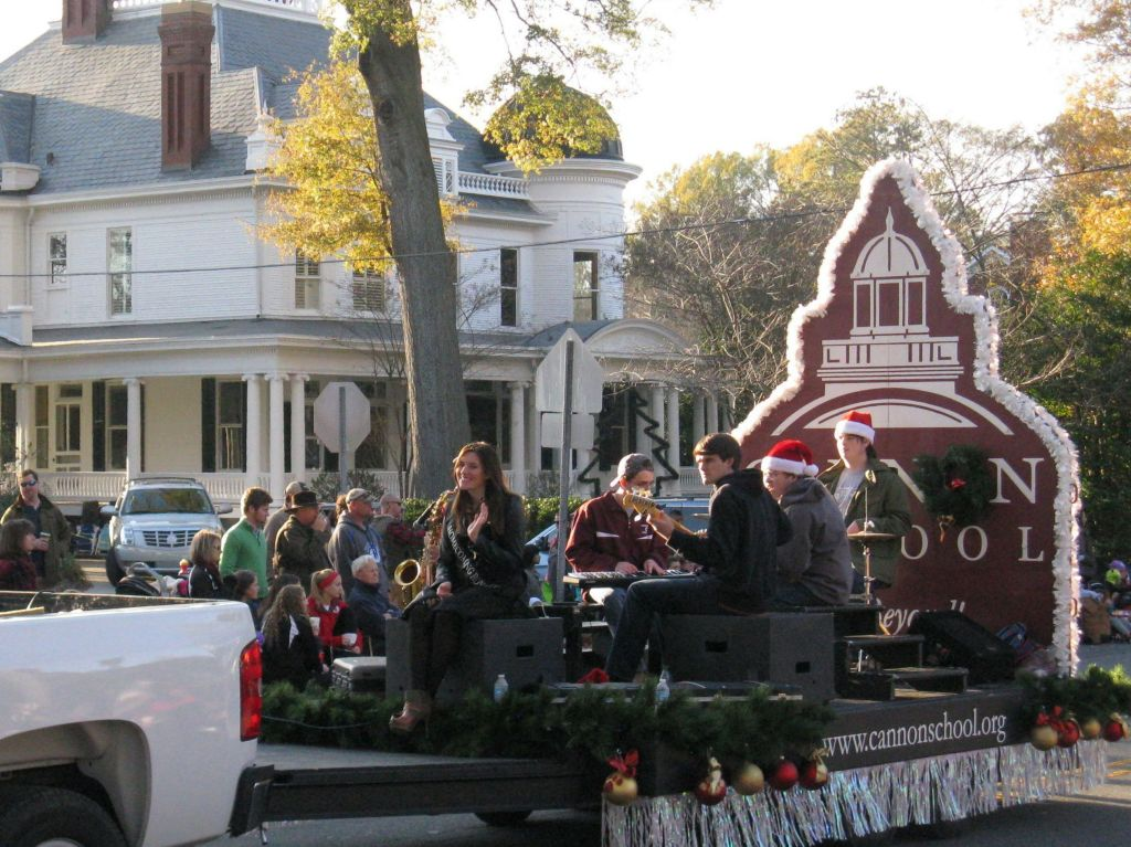 The Cannon School float passes in front of the School's original site, on Union Street.