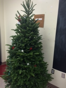 Classrooms are decorated for the holiday season.