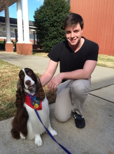 Tyler, the SADD/ Empower President de-stresses with winn the dog.