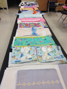 Blankets made by the Winterm Sewing team.