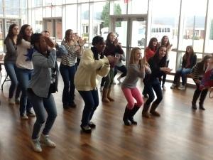 Dancers in action.