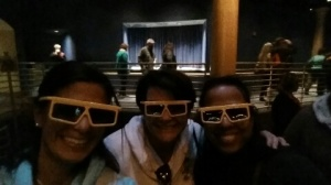 Chaperones enjoy a 3d movie while at Disney
