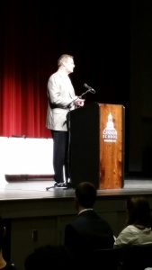 Mr. Gossage addressed the upper school about the importance integrity.