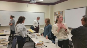 Teachers talked passionately about their subject matter with parents during curriculum night.