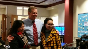 Mr. Gossage enjoyed our Tianli student visitors.
