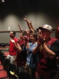 baseball gang cheers on our dancers.