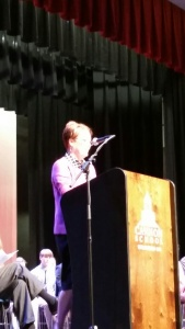 Deb Otey Welcomes all to the Cum Laude ceremony.