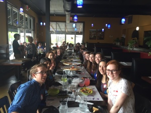GSA lunch meeting. Several local GSA groups gathered to exchange information about their clubs in other schools.
